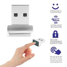 Lector de mochila online-Aluminio Mini USB lector de huellas dactilares portátil Identificación de huellas dactilares Windows Hola Cifrado para Windows 8 10 Módulo Dongle