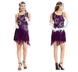 f8dcd7f312fe Estate Boho Viola Sexy Vestito da ballo con paillette latina Offerta  speciale Abbigliamento da ballo Vestito da ballo Costume da donna Abiti di  salsa ...