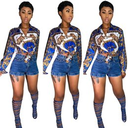 Frauen blaue blusen online-2019 Gold Druck Blau Frauen Shirt Bluse Lange Ärmel Knöpfe Laepel Hals Mode OL Party Club Casual Hemd Top und Tees Real Image