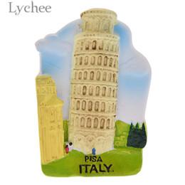 2019 etiqueta chinesa da parede do casamento Liche Torre de Pisa Imã de geladeira Criativo Paisagem 3D Imãs de Geladeira Lembranças de Turismo Decoração de Casa