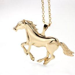 gold neue mans kette design Rabatt Hohe Qualität Pferd Halsketten Anhänger Modeschmuck 2019 Neue Design Charme Vergoldet Ketten Halsketten Für Männer Frauen