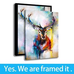 incorniciato cervo pittura Sconti Dipinto ad olio su tela Wall Art Stampe su tela di canapa di fondo Poster Acquerello animale - Decorazioni per portico - Pronti per essere appesi - Incorniciato