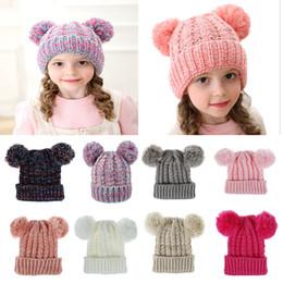 chapéu cinzento do bobble Desconto Kid Knit Crochet Gorros Chapéu Meninas macia Duplo Balls Inverno Quente Hat 12 cores bebê ao ar livre Pompom esqui Caps dc814