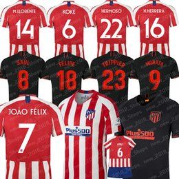 Scherzando camicia personalizzata online-Atletico Madrid JOÃO FÉLIX maglia da calcio MORATA SAUL KOKE personalizzato camicia H.HERRERA M.LLORENTE Trippier HERMOSO FELIPE Uomi bambini di calcio 2020