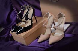Original Box classico nero e Nude donne Tacchi alti di marca in pelle verniciata Punta a punta scarpe eleganti di lusso bocca superficiale rosso suola scarpe da sposa da borse morbide fornitori