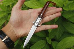 Распродажа! 100% Real M390 Стальное лезвие Flipper Складной нож с одним лезвием для мытья камня Деревянная ручка с кожаной оболочкой от Поставщики каменный век