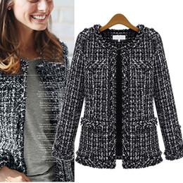 Piccolo Profumo a maniche lunghe Cappotto Vintage cardigan corto nero giacca di lana di autunno inverno Tweed Coat Moda Donna