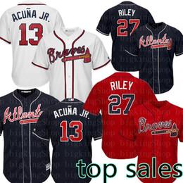 2019 camisetas de béisbol negro rojo 13 Ronald Acuña Jr. 27 Austin Riley Jersey para hombre Freddie Freeman jerseys 44 Hank Aaron béisbol tamaño M-XXXL Rojo Blanco Negro camisetas de béisbol negro rojo baratos