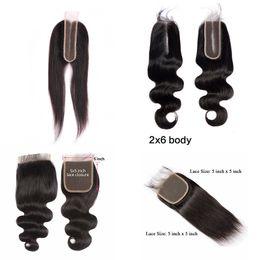 Encaje asiático online-el cierre de encaje asiático 5x5 onda del cuerpo del pelo humano con el pelo del bebé 10-20 pulgadas natural de primera 2x6 cierre de encaje Negro Cierre la onda del cuerpo Recta