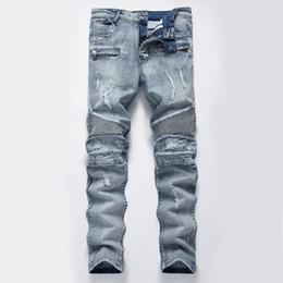 3aefbb5d80e2e Горячая высокое качество мыть синий рваные джинсы мужские отверстия  джинсовые супер тощий известный дизайнер бренд брюки поцарапанные байкер  джинсы