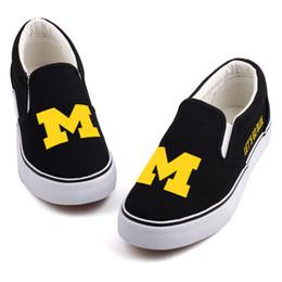 f1ea7ed5d9e3b0 vente en gros de lettres bleues mocassins occasionnels chaussures  personnalisées Amérique du Michigan État étudiants équipe fans chaussures  de toile glisser ...