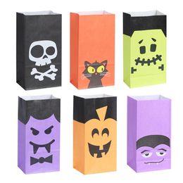 Bolsa de papel de doces on-line-6pcs Halloween Snacks Bags Envolvendo Supplies Bolsas de embalagem Kraft Paper Bag doces e balas de bar para Festival Crianças
