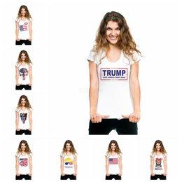 Animais dos eua on-line-Mulheres Trump camisetas EUA Bandeira Americana listrado Animal print tops manga curta o pescoço tee verão camisas LJJA2642