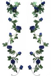 Canada Soie Artificielle Rose Vigne 2pcs 6.5Ft Guirlande Suspendue Fausse Fleur Plantes Artificielles Pour la Fête De Mariage Jardin En Plein Air Maison Hôtel Bureau Shop A Offre