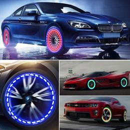 Luzes led para rodas on-line-Válvula Cap Car LED Energia Solar Flash automático do pneu da roda Neon diurnas Light Lamp ativada movimento Cars Gas Cap Lamp Decoração