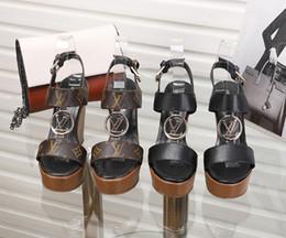 2019 haut cuir 2019 sandales gladiateur à talon haut en cuir véritable marque de mode arrière fermeture à glissière sandales fermeture fermeture éclair dames de luxe Chunky talon Ace chaussures d'été haut cuir pas cher