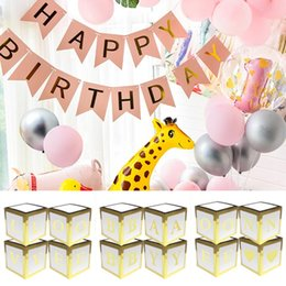 conjuntos de decoración de la ducha del bebé Rebajas Ducha Caja de regalo de boda Decoración 4PCS BABY AMOR Bloque fiesta de cumpleaños caja de la caja de bricolaje globo de bebé cajas de regalo de embalaje