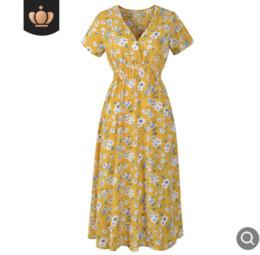 vestido de chiffon casual Desconto Moda impressão saia de praia Chiffon impresso com decote em V vestido de mangas curtas saia de alta qualidade saia casual tecido confortável