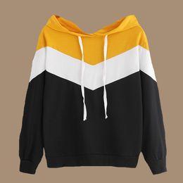 Multicolor Sweatshirt Wave Striped Frauen Hoodies Poleron Mujer 2019 Niedlichen Farbblock Hoodie Patchwork Weiß Schwarz Gelb Hoodies von Fabrikanten