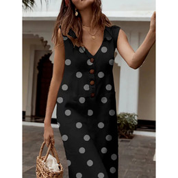 tshirt à pois Promotion Robe Femme Débardeur Eté 2019 Streetwear Casual Polka Dot Imprimé Boho Robe Col V Poche T-shirt Vestidos Verano 2019
