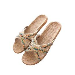 249e5a01c Mntrerm New Women Men Linen Slippers Summer Autumn Home Non-slip Slipper  Female Outside Beach Slippers Girls Flat Shoes