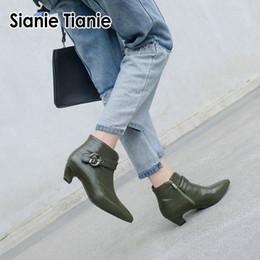 Sianie Tianie med каблуки женские туфли с острым носом зеленые оливковые сапоги женские зимние сапоги с пряжкой плюс размер 45 46 cheap olive green heels от Поставщики оливковые зеленые каблуки