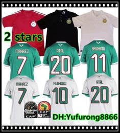 2019 maglie da calcio 2 stelle Africa Cup Algeria MAHREZ FEGHOULI ATAL BRAHIMI DELORT BENNACER maglia da calcio 19 20 Algeria rosso maillot de foot da