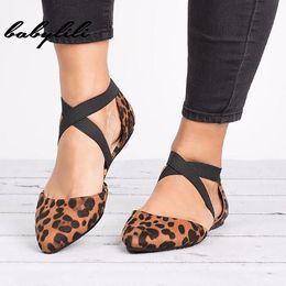 2019 leopardo impressão flats apontou dedo Sapatos Casuais Simples Único Mulheres Sapatos Baixos Leopardo Moda Apontou Toe Zapatos De Tacon Plataforma # 3 desconto leopardo impressão flats apontou dedo