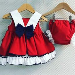 volante trasero del chaleco Rebajas Cute Newborn Kids Baby Girls Princess Sets Sin mangas Correa Ruffle Tops Vestido Back Bowknot Chaleco Shorts de encaje 2pcs trajes 0-24M