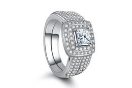 pietre bianche di platino Sconti Eternal Love Finger Ring Set Donna Fashion Borchie in cristallo zirconi pietra bianca Platino Platino Anello Anniversario Party Gift Jewelry