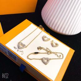 anel de esmeralda africano Desconto Luxo Famoso Clássico S925 Sterling Silver Com 18 k de Ouro Completa de Cristal Do Coração Charme Colar Pulseira Brincos Conjunto de Jóias Para As Mulheres