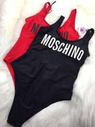 Traje de banho vermelho on-line-MOSC Itália Marca Swimwear Biquíni Para As Mulheres Carta Quente Impresso Swimsuit Bandagem Bi quinis Sexy Maiô Preto e Vermelho cor