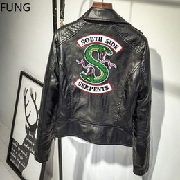 costumes de spectacle réguliers Promotion FUNG Femmes Riverdale Veste Faux Cuir Vestes South Side Serpents Casual Col Rabattu Zipper Jacket Vente Chaude!