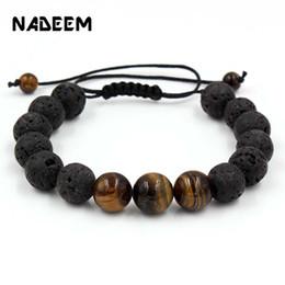 Olho bracelete macrame on-line-Simples Natural Contas De Pedra De Lava Buda Pulseira Brown Tiger Eyes Yoga Trança Macrame Pulseira Para Mulheres Dos Homens de Jóias de Meditação