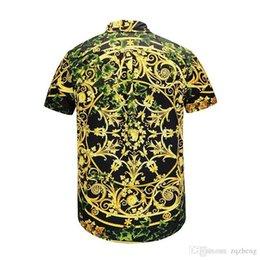 Pantalones cortos de med online-Camisa de seda caliente de los hombres de la onda de los hombres de impresión floral de colores mezclados de lujo ocio Harajuku camisas manga corta Patchwork hombres Med
