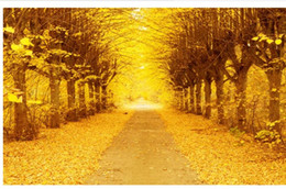 gold wallpaper for bedroom Coupons - Golden Autumn Gold Tree 3D TV Background Wall wallpaper for walls 3 d for living room