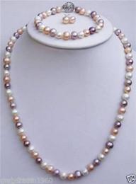 rosa süßwasserperlen halskette Rabatt Natürliche 7-8mm weiße rosa purpurrote Süßwasserperlen-Halsketten-Ohrring-Armband-Satz
