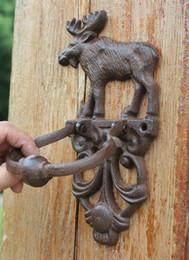 Portas de estilo country on-line-2 Peças Elenco Aldrava Aldrava De Ferro Elk Moose Decorativa Doorknocker Estilo Tradicional Do Vintage Porta Maçaneta Da Porta Do Carro Trinco País Marrom Retro