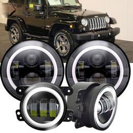 """Jk led-scheinwerfer online-45W 7 """"runde LED Projektorscheinwerfer +4.0 Zoll 30w Nebelscheinwerfer For-Jeep Wrangler JK LJ TJ"""
