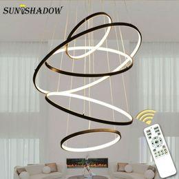 Moderne kreisdecke online-Moderne geführte Leuchter-Ring-Kreis-Decke brachte LED-Leuchter-Beleuchtung für Wohnzimmer-Esszimmer-Küche BlackWhiteGold an