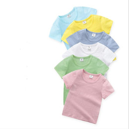 toddler girl christmas shirts Promo Codes - Kids Clothes Boys Solid T-shirts Girls Summer Short Sleeve Tops Baby Bamboo Cotton Casual Shirts Toddler Boutique Tee Fashion Blouses B5556
