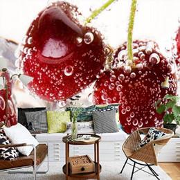 fondo de pantalla de frutas Rebajas Estéreo fondo de pantalla 3D HD 3D personalizado cereza fresa mural de televisión de la pared de fondo Tienda de Frutas centro comercial de papel tapiz de vida restaurante habitación