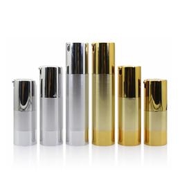 Prata garrafa airless on-line-15 ml 30 ml 50 ml de ouro / prata vazio cosméticos garrafa sem ar garrafa recarregável portátil dispensador de garrafas para loção de viagem WB637