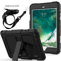 Handschlaufe tablette abdeckung online-3 Schichten Tablet Case für iPad Mini 1/2/3 Duty Shockproof Hand Schultergurt Kids Stand Case Cover für iPad Mini