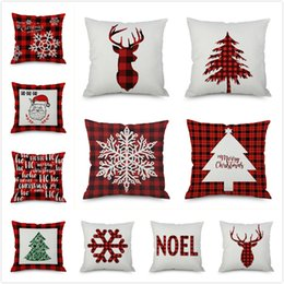almohadas diseño del árbol Rebajas 39 diseños caja de la almohadilla de Santa Claus árbol de Navidad muñeco de nieve Elk caja de la almohadilla del amortiguador de la funda de almohada cubiertas coloridas del hogar del coche del sofá de la decoración 45 * 45cm