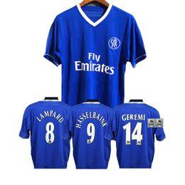 Классические качественные рубашки онлайн-2003 2005 Ретро футболки LAMPARD HASSELBAINK GEREMI ZOLA Классическая футболка Лиги Мужских футболок высшего качества