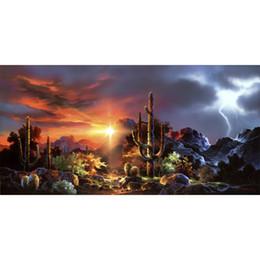 wüstenmalereien Rabatt Leinwandkunst-Ölgemälde Desert Lightning große Grafik für das Wohnzimmer handgemalt