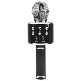 2019 karaoke del microfono del mp3 Wireless Bluetooth Karaoke Ws858 microfono altoparlante portatile portatile Karaoke Mic altoparlante macchina Canto Hosting Ktv Ws 858 Bla