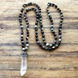 rosario di cristallo bianco Sconti Bianco ciondolo di cristallo 6 millimetri nero pietra naturale catena della collana del rosario Mala Pendente Handmade delle donne di pietra naturale Bead Collana V191128