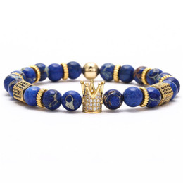 pulseras de oro blanco 24k Rebajas Las mujeres de los hombres abalorios pulseras brazaletes de piedra natural encanto de la corona pulsera de diseñador de lujo joyería para mujer para hombre con cuentas brazalete accesorios de moda